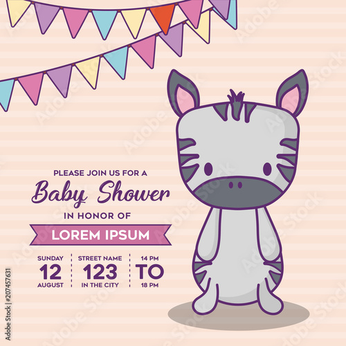 Baby Shower Invitation Template With Decorative Pennants And Cute