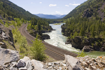 Kootenai River Train Tracks North West Montana