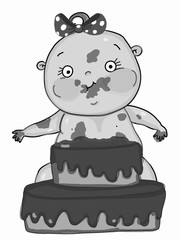 cute baby girl  eating cake   cartoon mascot  and grey colors