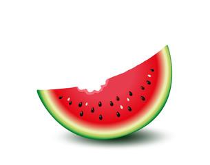 Wassermelone angebissen, Melone mit Biss, frisches Obst,   Vektor Illustration isoliert auf weißem Hintergrund