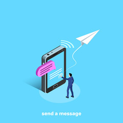 a man in a business suit sends a message on a smartphone, an isometric image