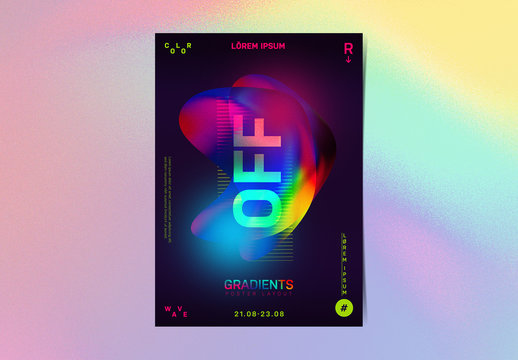 Event Flyer Layout with Colorful Gradient Shapes