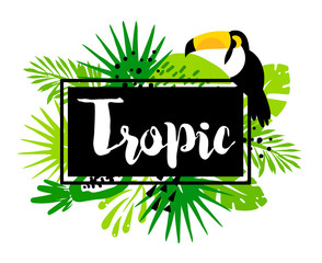 Trendy summer banner with palm leaves, toucan, tropical plants and text in frame on white background. Flat design. Vector card.