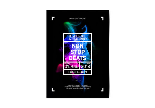 Event Flyer Layout with Multicolor Design Element