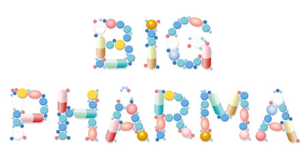 Big pharma written with pills. Symbolic slogan or watchword for suspicious and problematic health and medicine business. Isolated vector illustration over white background.