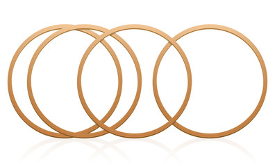 Gymnastic hoops. Wooden, round sports equipment for artistic exercise, workout, fitness and dance, or as toys for outdoor games. Isolated vector illustration over white.