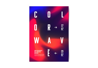 Poster Layout with Red and Blue Abstract Elements