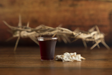 Christian Communion on a Wooden Table Wall mural