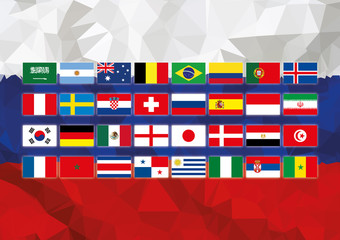 Russia world cup flag with all the coutry flags team