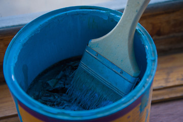 blue paint withered in the can
