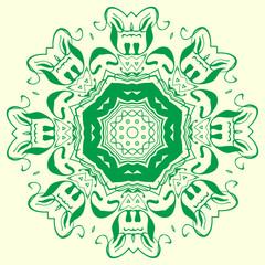 green geometric element of the ornament