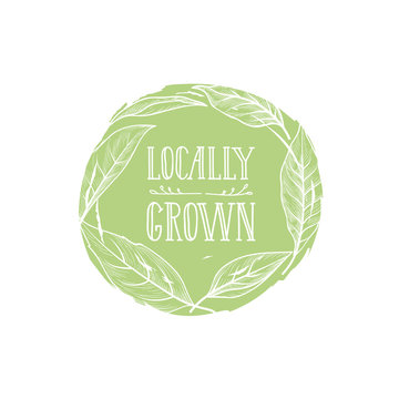 Farm product sign. Locally grown lettering, floral label