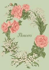 Цветы. Розы и ландыши. Векторная открытка в стиле винтаж.