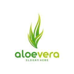 Aloe Vera logo template. Green leaf aloe vera label
