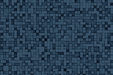 Abstract dark blue geometric small cube or box shape background or pattern design.