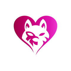 Love Dog Logo, Love Wolf Logo