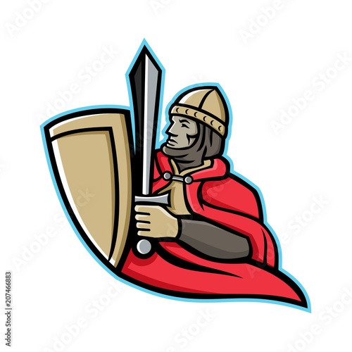 947026af7f Mascot icon illustration of a medieval king or knight wielding a sword and  shield from waist up viewed from side on isolated background in retro style.