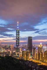 Taiwan Taipei city night view seen from mt.Elephant.