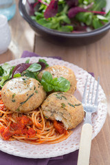 Meatless meatballs made from bread with cheese cheese, basil and spaghetti