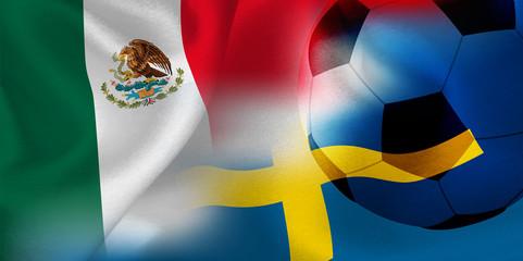 メキシコ スウェーデン  国旗 サッカー