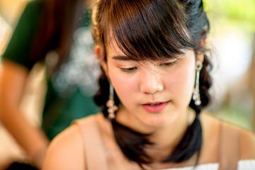 Adorable Asian women,select focus.
