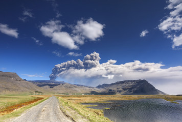 Volcano ash eruption. / Volcanic landscape with eyjafjallajokull glacier in Iceland