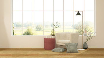 The interior minimal japanese hotel relax space 3d rendering and nature view background