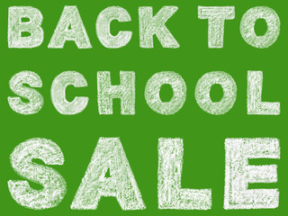 handwritten white bold chalk lettering back to school sale text on green background, hand-drawn chalk phrase, back to school concept, stock photo image