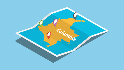 explore colombia maps with isometric style and pin location tag on top