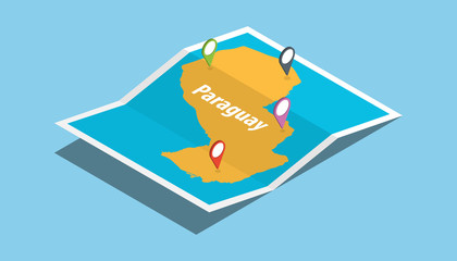 explore paraguay maps with isometric style and pin location tag on top
