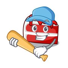 Playing baseball red velvet character cartoon