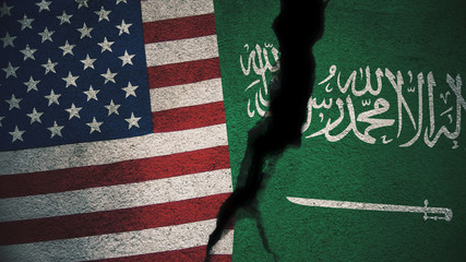 United States vs Saudi Arabia Flags on Cracked Wall