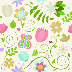 Seamless Floral Pattern on a Light Cream Background