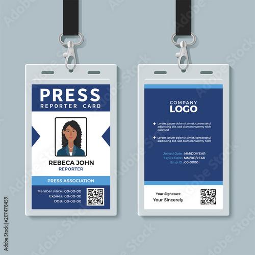 Press Reporter Id Card Template Stockfotos Und Lizenzfreie Vektoren