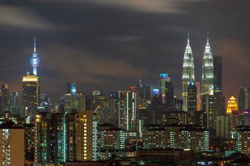 KUALA LUMPUR, MALAYSIA - 6th MAY 2018; Majestic night landscape of downtown Kuala Lumpur, Malaysia.
