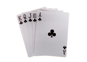 Playing cards, royal flush. A royal flush is a straight flush that has a high card value of Ace. This is the highest hand in the game of poker. Spades.