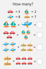 How many counting game with transport for kids, educational maths task for the development of logical thinking, preschool worksheet activity, count and write the result, vector illustration