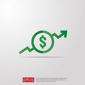 dollar increase icon. Money symbol with arrow stretching rising up. Business cost sale icon. vector illustration