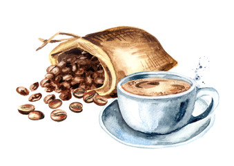 Sack of  coffee beans and cup of coffee. Watercolor hand drawn illustration, isolated on white background