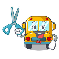 Barber school bus character cartoon