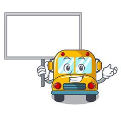 Bring board school bus character cartoon