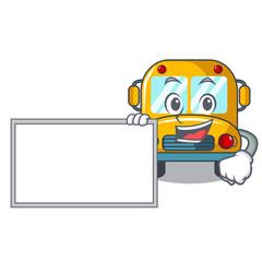 With board school bus character cartoon