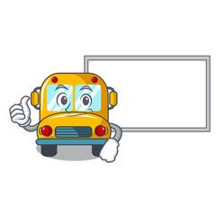 Thumbs up with board school bus character cartoon