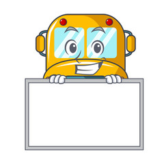 Grinning with board school bus character cartoon