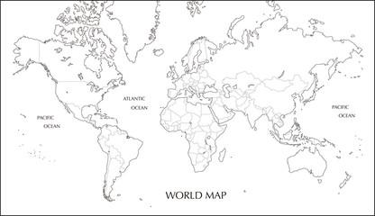 世界地図 メルカトル図法の白地図