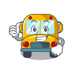 Thumbs up school bus character cartoon