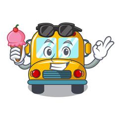 With ice cream school bus character cartoon
