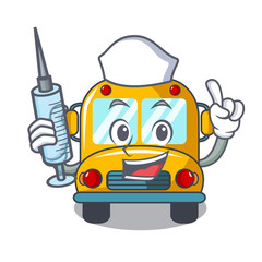 Nurse school bus character cartoon
