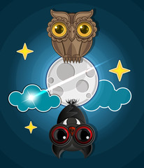 Grungy halloween background with terrible owl, full moon, bats .