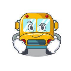 Smirking school bus character cartoon